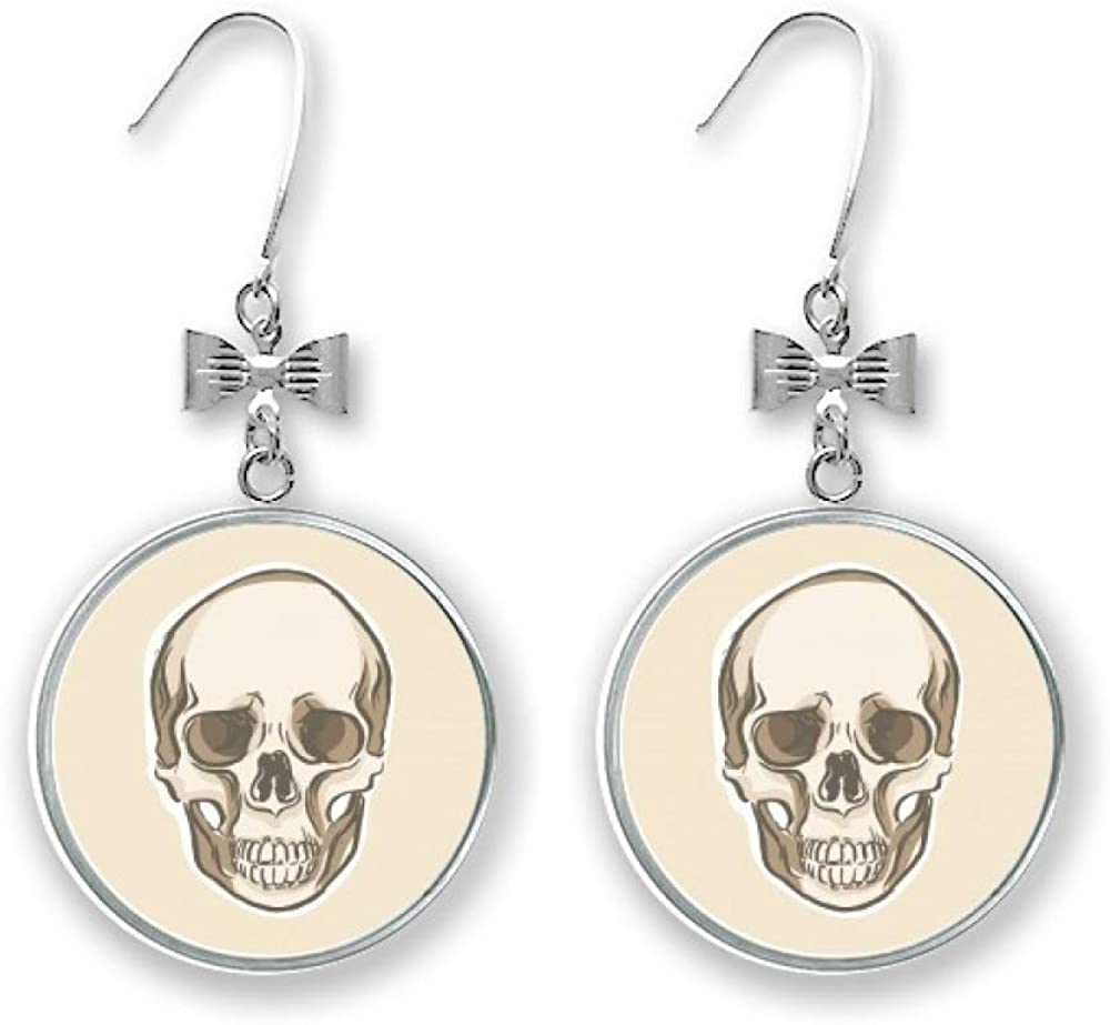 Human Skull Sketch Illustrations Bow Pierced 4 years warranty Stud Drop Nashville-Davidson Mall Earrings