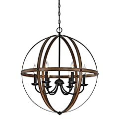 Rustic vintage-industrial style six-light chandelier is perfect for entryways and dining rooms Two-tone barnwood and Oil Rubbed Bronze finishes add vintage appeal. Adjustable length for perfect positioning Uses six 40-watt candelabra-base light bulbs...