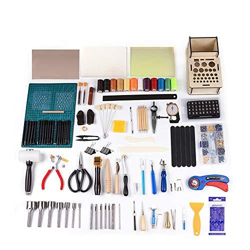 Puzzle Kits de Repujado de Cuero Alfombrilla De Corte Botón De Martillo Remache Kit De Artesanía De Cuero para Coser Kit De Herramientas De Cuero DIY