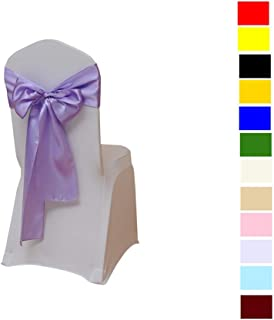 Fvstar 25pcs Lavender Satin Wedding Chair Sashes Bows Party Chair Ribbons Banquet Chairs Back Tie Sashes for Events Supplies Baby Shower Christmas New Year Decorations Without White Covers