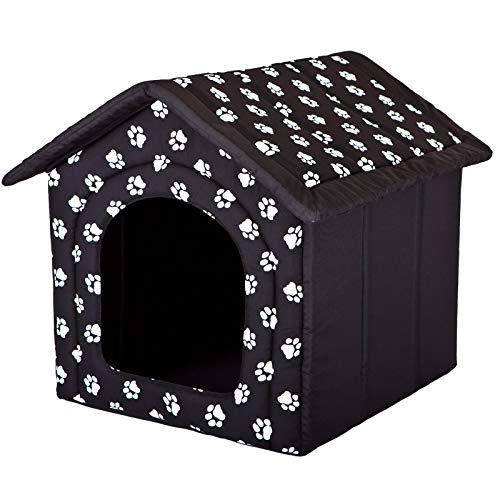 Hobbydog R4 BUDCWL2 Doghouse R4 60X55 cm Black with Paws, L, Black, 1.4 kg