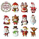 LABOTA 11PCS Grande Feliz Navidad Globos Globo de papel de aluminio Papá Noel/Muñeco de nieve/Reno/Alce Globo de helio para suministros de decoración de fiesta de año nuevo de Navidad