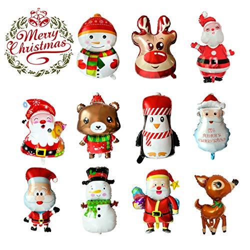LABOTA 11PCS Grande buon Natale palloncini Palloncino in alluminio Babbo Natale/Pupazzo di neve/Renna/Alce Palloncino ad elio per forniture per decorazioni per feste di Capodanno