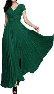 Minetom Damen Elegant Chiffon Maxi Kleid Hohe Taille Langes Abendkleid Partykleid Hochzeit Brautjungfer Brautkleid Cocktail Festliches Kleid Boho V-Ausschnitt Kurzarm Sommerkleid
