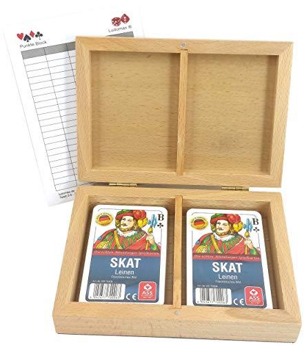 Ludomax Skat Box Leinen, Kassette mit Zweierpack Leinen Qualität Kartenspielen