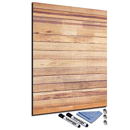 Glas-Magnettafel 60x80 Pinnwand mit Zubehör Whiteboard Küche Holz-Optik Braun