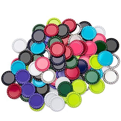 IGOGO 100 Pcs Mixed Colors Bottle Caps Craft Bottle Stickers for Hair Bows Pendants Scrapbooks 1 Inch (10colors x 10pcs))