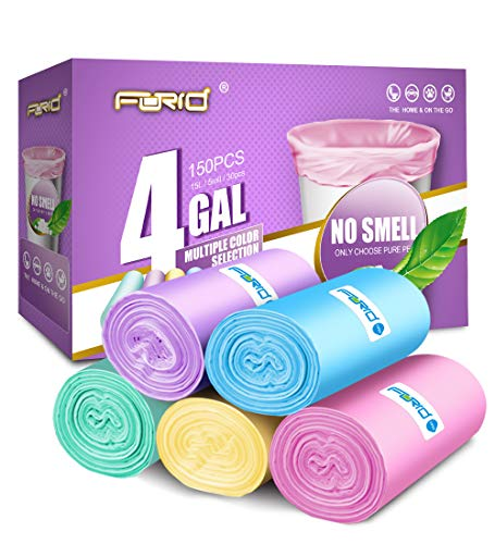 FORID Small Garbage Bags – 4 Gallon Trash Bags Wastebasket Bin Liners New Design Colored Plastic Trash Bags for Bathroom Bedroom Office Trash Can (150 Counts 5 Color)