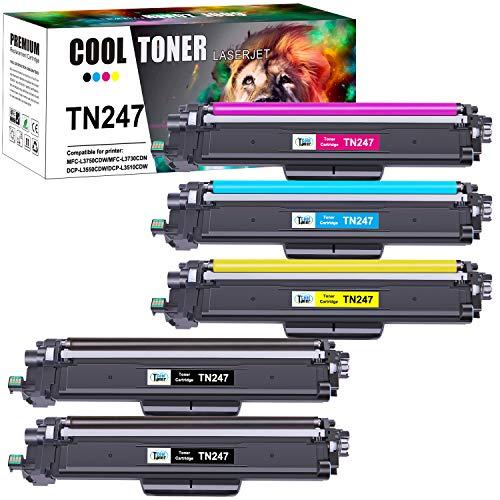 Cool Toner Kompatibel Tonerkartusche als Ersatz für Brother TN-243CMYK TN247 Brother MFC-L3750CDW MFC-L3770CDW DCP-L3550CDW HL-L3230CDW HL-L3210CW MFC-L3710CW (Schwarz,Cyan,Gelb,Magenta, 5er-Pack)