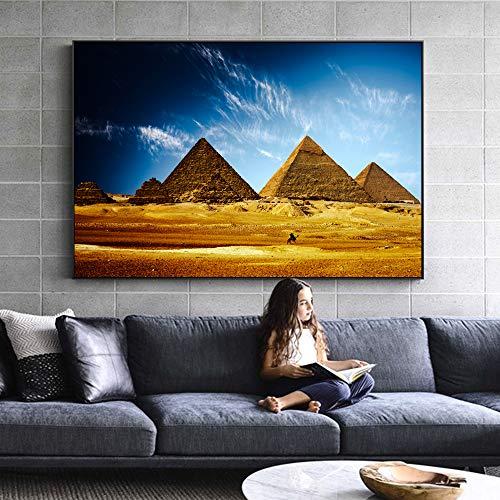 SADHAF Egyptische piramide muurschildering afdrukken landschap muurschildering Canvas Prints woonkamer kunst schilderij decoratie A1 30x40cm