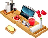 Bamboo Bathtub Caddy Tray Expandable for Luxury Bath,Bath Accessories & Table with Wine Glass Holder,Book Stand Bathroom Organizer with Extending Sides for Men/Women,Free Soap Holder,Brown