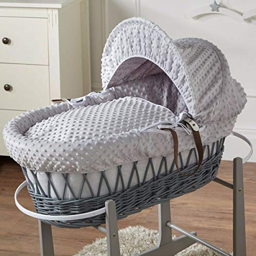 FYLO Grey Dimple Grey Wicker Moses Basket