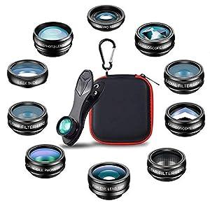 Mpow 3 en 1 Kit de lentes para teléfono y lente, Lente Ojo de Pez de 180°,0.65X Gran Angular,Lente Macro 10X para Smartphone iPhone X/8/7/SE/6/6 Plus/5S/5C/4S, Samsung, Huawei, Honor, xiaomi etc: Amazon.es: