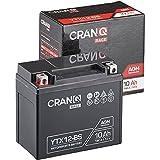 CranQ 12V 10Ah 180A AGM-Batterie YTX12-BS Motorradbatterie rüttelfest Roller Starterbatterie leistungsstark, wartungsfrei