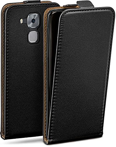 moex Flip Hülle für Huawei Nova Plus Hülle klappbar, 360 Grad R&um Komplett-Schutz, Klapphülle aus Vegan Leder, Handytasche mit vertikaler Klappe, magnetisch - Schwarz
