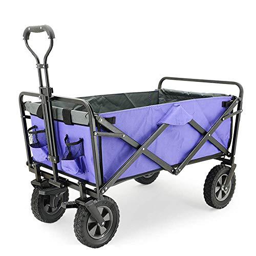 Carro Plegable Vehículo de Transporte de Pesca al Aire Libre, con Varilla de Empuje y tracción Ajustable, Rueda de rodamiento de 8', Carro portátil para Mascotas Tela Oxford extraíble