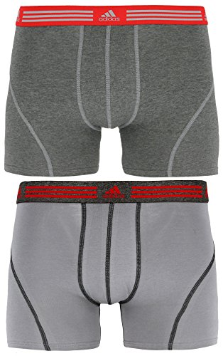 adidas Men's Athletic Stretch Trunk Underwear (2-Pack), Marl Heather Black/Ray Red Grey/Black/Ray Red, SMALL
