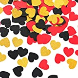 Red Black Gold Heart Confetti Glitter Paper Confetti for Valentines Day Decoration Graduation Wedding Baby Shower Birthday Party Home Table Decor Lasting Surprise 200pcs
