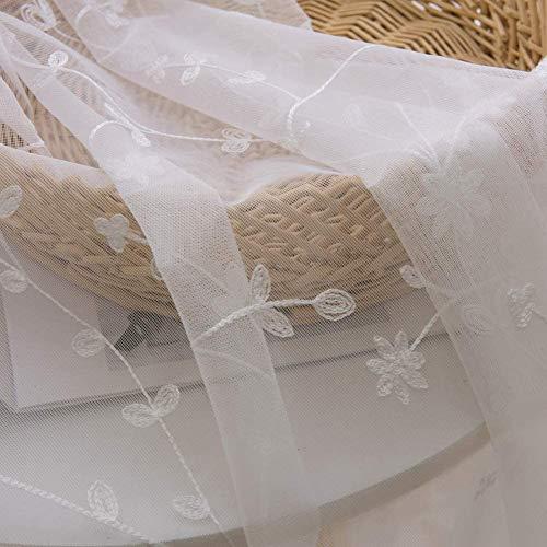 GJXY - Cortina de visillo de tul con tratamiento de cortina, bordada, con perforaciones elegantes, decoración de ventana, salón, balcón, dormitorio, 2 unidades, 150 x 185 cm
