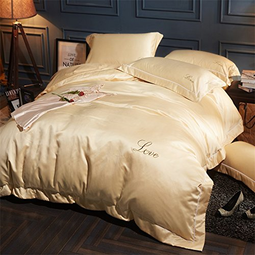 Buy Bargain BB.er Pure cotton washed silk bedding four sets of sheets quilt cover pillowcase, cream,...