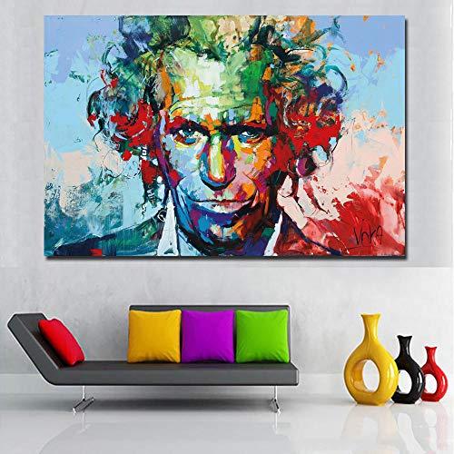 WJY Buntes Porträt-Ölgemälde gedruckt auf Leinwand Spontaner Realismus Gemälde von Voka Wandkunst druckt Plakat für Wohnzimmer 50cm x75cm No Frame