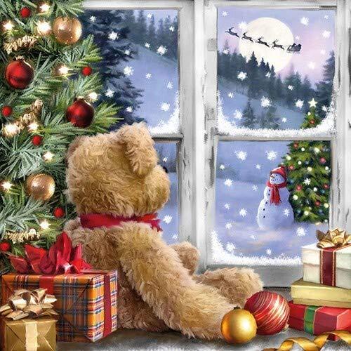 20 Servietten Teddybär am Fenster als Tischdeko für den Winter und Weihnachten 33x33cm
