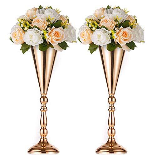 Nuptio 2 Pcs Tabletop Metal Wedding Flower Trumpet Vase, Table Decorative Centerpiece, Artificial Flower Arrangements for Anniversary Ceremony Party Birthday Event Aisle Home Decoration (Gold)
