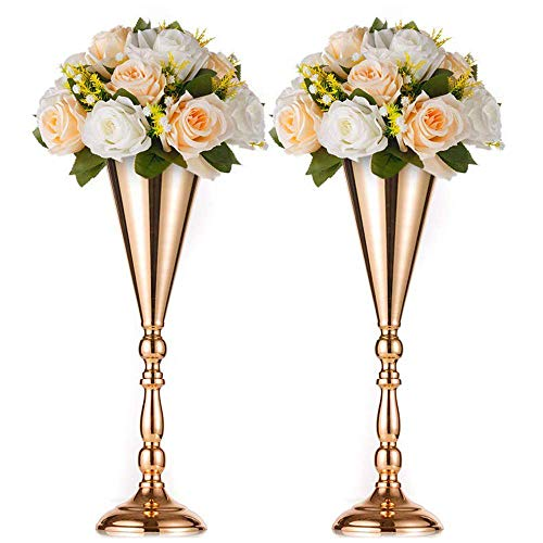 Nuptio 2 Pcs Tabletop Metal Wedding Flower Trumpet Vase, Table Decorative Centerpiece, Artificial Flower Arrangements for Anniversary Ceremony Party Birthday Event Aisle Home Decoration