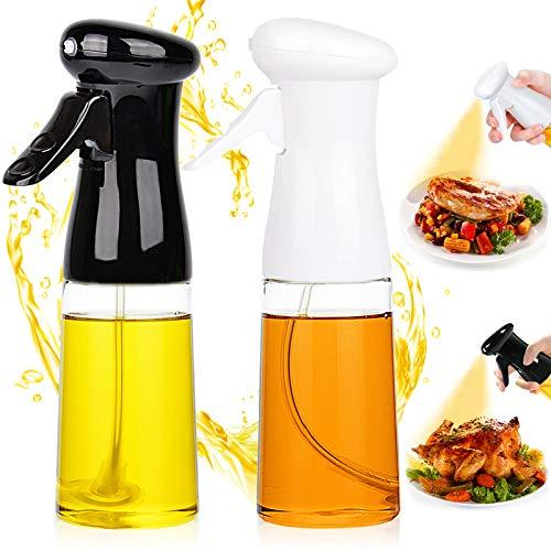 Oil Sprayer for Cooking 2 PACK Set, Oil Sprayer Mister Refillable Olive Oils Dispenser Spray Versatile Vinegar Spritzer Food Plastic Bottle for Air Fryer Kitchen BBQ Salad Baking 7Oz/200ML Black+White