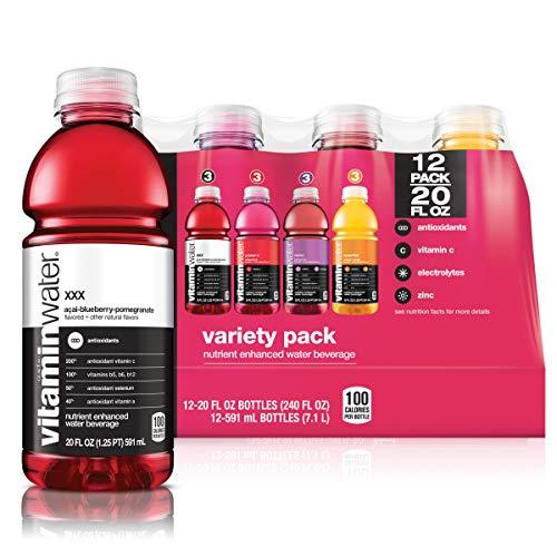 VitaminWater Flavored Water | 4 Flavor Variety Pack - 20 Fl Oz Bottles, Nutrient Enhanced Water w/ Vitamins, Antioxidants, Electrolytes | Pack of 12