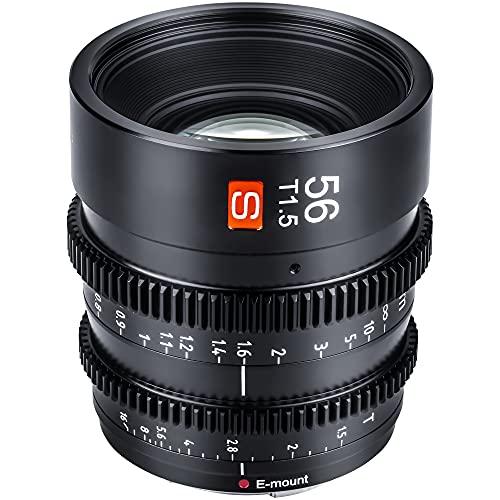 VILTROX Objetivo cinematográfico de 56 mm T1.5 Prime de enfoque fijo, gran angular, compatible con cámaras Sony E Mount (aps-c, negro)