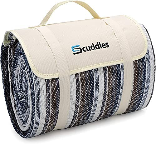 Scuddles Picnic Outdoor Blanket Roll Up Blanket Beach Mat for Camping on Grass Oversized Seats Adults Water Resistant Picnic Mat 52 X 57