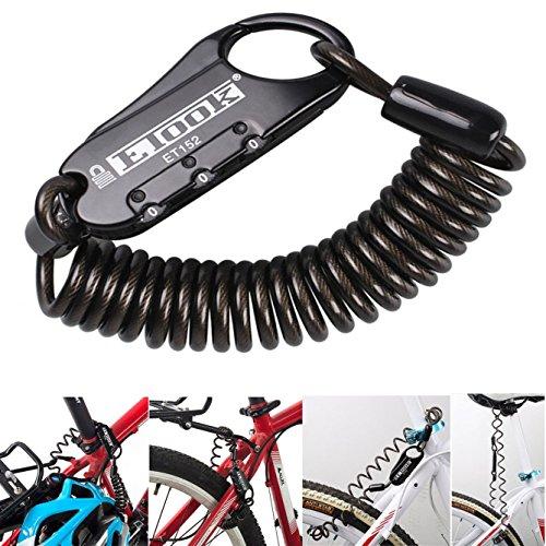 Bestfire ET-152Mini-Diebstahlschutzkabel für Fahrräder, tragbar, zurücksetzbares dreistelliges Federkombinations-Schloss, für Reisegepäck/Helme, schwarz