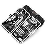 FWJSDPZ 18 unids Kit Clipper Kit Pedicure Care Set Scissor Tweezer Orí Pick Pick Utility Manicure Set Herramientas PU Funda de Cuero para Viajar a Domicilio (Color : Black)