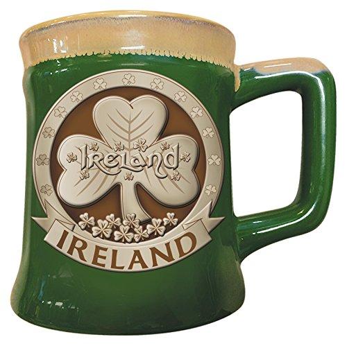 Keramikbecher mit irischem Design eines Kleeblatts, grün