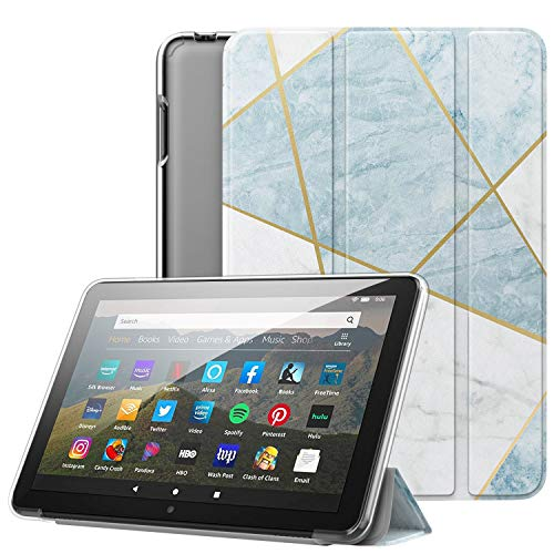 Dadanism All-New Kindle Fire HD 8 Tablet Case and Fire HD 8 Plus Cover(10th Gen 2020 Release), [Flexible TPU Translucent Back Shell] Ultra Slim Lightweight with Auto Sleep/Wake - Marble Light Blue