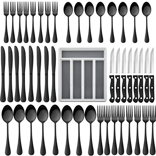 49-Piece Silverware Set with Flatware Drawer Organizer, HaWare Stainless Steel Cutlery Set with 8 Steak Knives, Eating Utensils Set Service for 8, Mirror Polished, Dishwasher Safe-Black