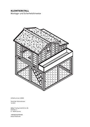 dobar 23033FSC Großer dekorativer Hühnerstall oder Kleintierstall XL mit Freigehege, Pflanzkasten und Legebox, 126 x 128 x 143 cm, weiß-braun-schwarz - 14
