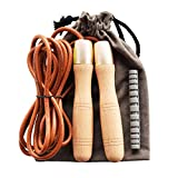 Ahomie Leather Jump Rope, Adjustable Skipping Jumping Ropes, with 360-Degree Bearing and Pure Wood...