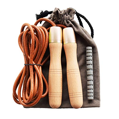 Ahomie Leather Jump Rope, Adjustable Skipping Jumping Ropes, with 360-Degree Bearing and Pure Wood Handles, for Gym & Home Fitness Workouts