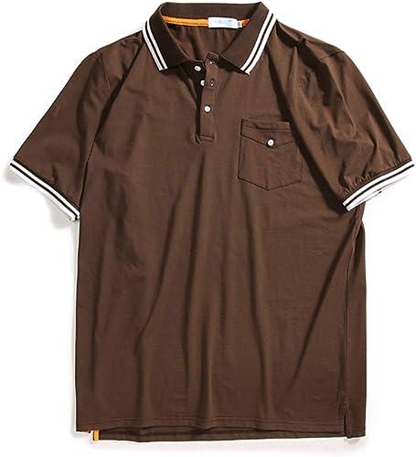 HTTX-YJ T-Shirt à Manches Courtes pour Hommes de Grande Taille, Revers, Ample Polo Shirt