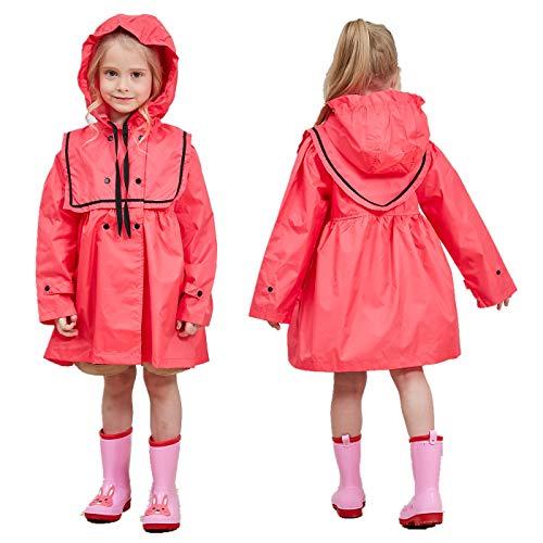 TURMIN Kinder Regenmantel Mädchen Regenanzug Regenponcho Regenjacke Baby Leichte Niedliche Regenbekleidung für Mädchen 1-9 Jahre-Rosa-L