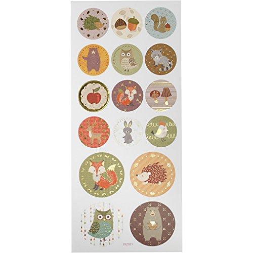 Aufkleber Waldtiere, Bogen 10x23 cm, ca. 16 Stück Forsttiere, 1 Blatt