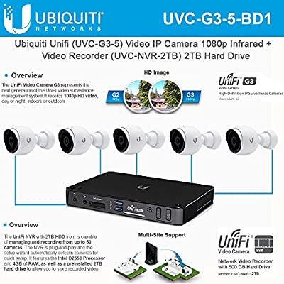 Ubiquiti Unifi (UVC-G3-5) Video IP Camera 1080p Infrared + Unifi Video Recorder (UVC-NVR-2TB) 2TB Hard Drive