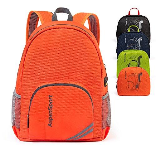 ASPEN Aspensport Leichter Faltbarer Rucksack Packable kleine Reise Wandern Daypack mit USB-Anschluss für Männer & Frauen 18 L Handliche Camping Outdoor Tasche, Orange, Small