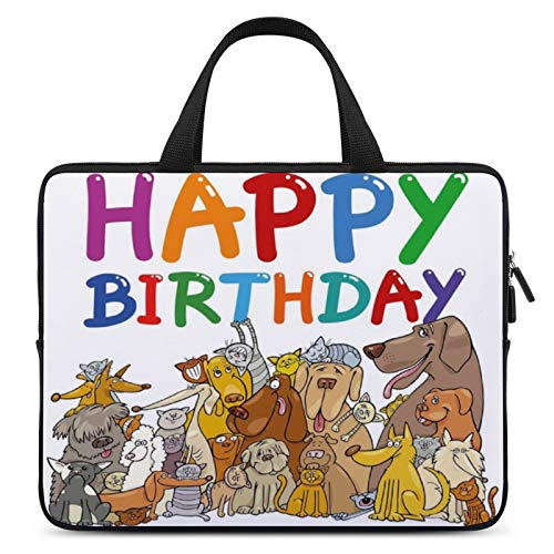 Universal Laptop Pocket Case,MacBook Handbag,Notebook Computer Protective Case,10inch,for Apple/MacBook/HP/Acer/Asus/Dell/Lenovo/Samsung,Color for Birthday Decorations for Kids,Cartoon Streets Dogs Ca