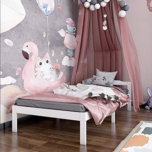 3FT Sing Bed Frame White Wooden Bedroom Furniture For Child Adult Dorm Hotel (Color : Type D)