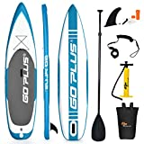 "Goplus Expedition Inflatable Stand Up Paddle Board, 6"" Thick SUP with Accessory Pack, Adjustable Paddle, Carry Bag, Bottom Fin, Hand Pump, Non-Slip Deck, Leash and Repair Kit (Blue, 11 FT)"