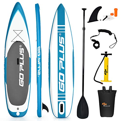 """Goplus Expedition Inflatable Stand Up Paddle Board, 6"""" Thick SUP with Accessory Pack, Adjustable Paddle, Carry Bag, Bottom Fin, Hand Pump, Non-Slip Deck, Leash and Repair Kit (Blue, 11 FT)"""