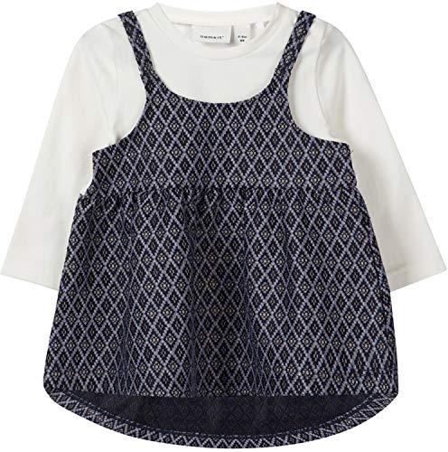 NAME IT Baby Mädchen Kleid festlich Doppeloptik NBFSIMOR, Größe:62, Farbe:Dark Sapphire
